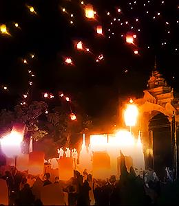 タイの伝統文化であり、仏教儀式でもあるロイクラトン祭り
